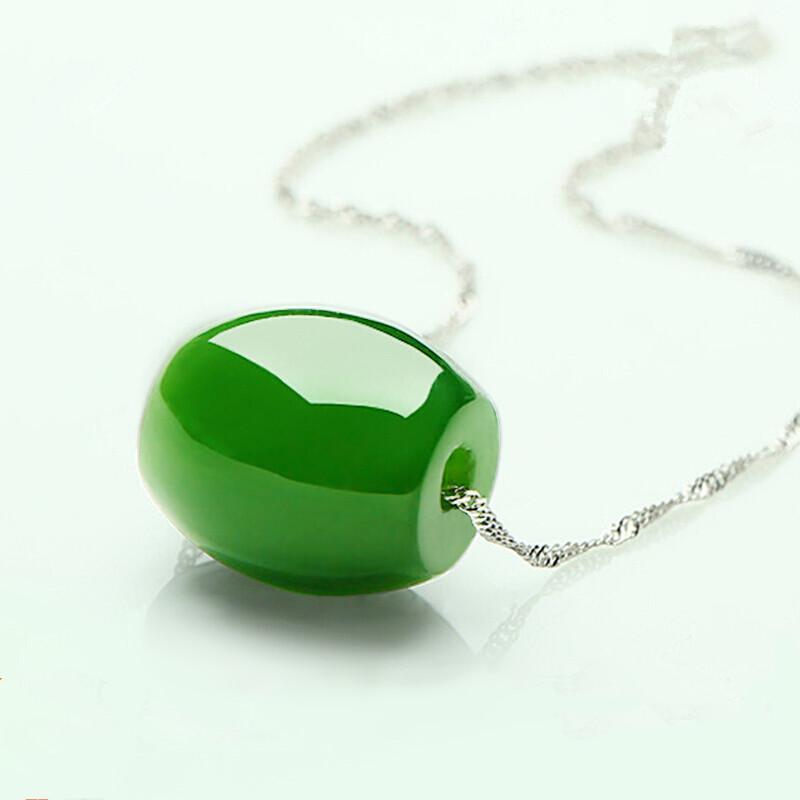 Lulutong spinaci ciondoli verde ghiaccio naturale autentica giada pendenti in cristallo giada perle trasferimento delle donne intarsiati con catena clavicola