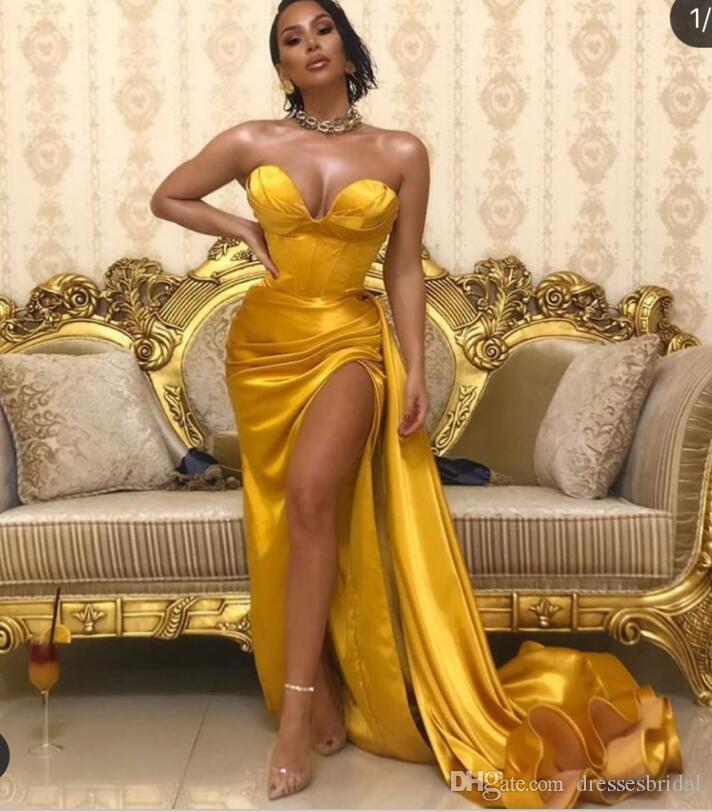 Satin Ballkleider Gold 2020 Schatz Ausschnitt Abend Party Arabisch Vestido Longo Festa