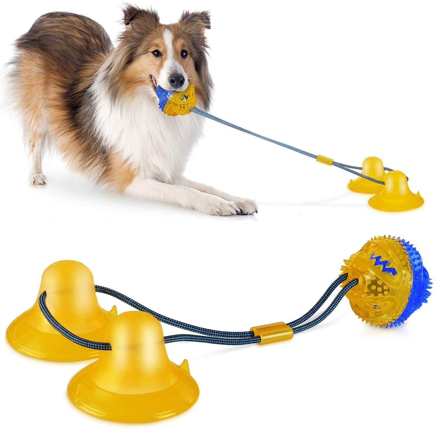 Duplo Ventosa Toy Dog atualizado design e filhote de cachorro Interativo Materiais Chew Brinquedos para Pequenas e Médias Cães da esfera do cão