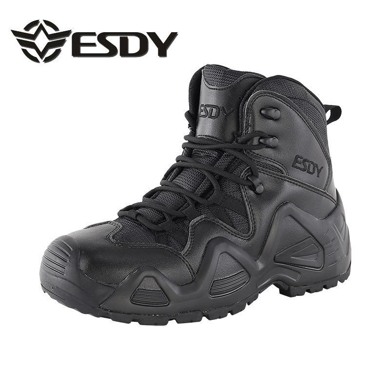 Zapatos para caminar al aire libre de los hombres de cuero impermeable de nylon Ventiladores táctico botas del ejército acampa Caza zapatillas de entrenamiento de combate