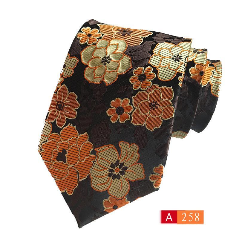 Fonte fabricantes local atacado poliéster seda jacquard flor gravata desgaste comercial com fonte de comércio exterior amarrar 6 cm 12 pcs