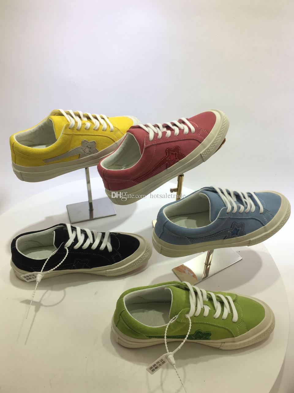 Uma Estrela X Golf Black Canvas Sneaker Das Mulheres Dos Homens Sapatos Casuais Low Top Sneaker de Alta Qualidade Casal Camurça De Couro Da Sapatilha Com caixa, recibo, saco