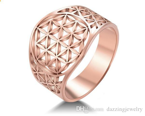 Stainless Steel Silver Gold Rose Gold Egypt Flower Of Life Ring Egyptian La fleur de la vie Hollowing Hollow Cut Ring Jewelry