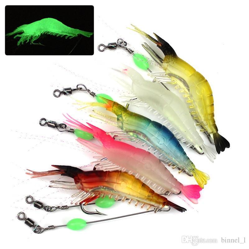 Karışık 5 Renk 9cm 5.5g Aydınlık Karides Balıkçılık Kancalar Balık oltaları Tek Kanca Yumuşak Yemler Yemler Yapay Bait Balıkçılık Aksesuarlar Mücadele