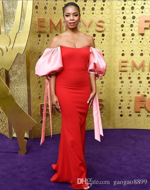 2019 fuori dalla sirena sexy spalla sera Abiti da Emmy Awards Abiti da sposa con le maniche a sbuffo Occasioni speciali africano Vestidos de Noche