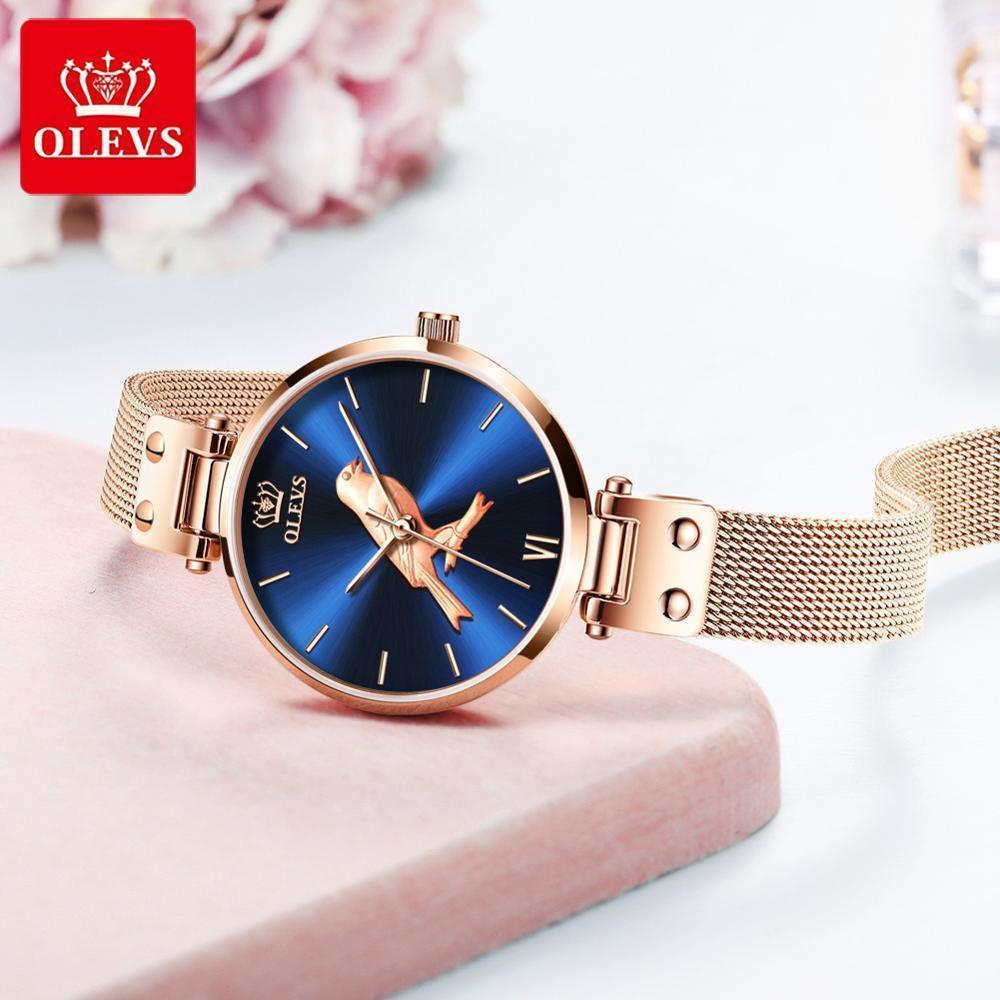 Il nuovo uccello! OLEVS orologio ultra signore impermeabili sottili, compleanno regalo di San Valentino vigilanza di signore di tendenza semplici orologi al quarzo