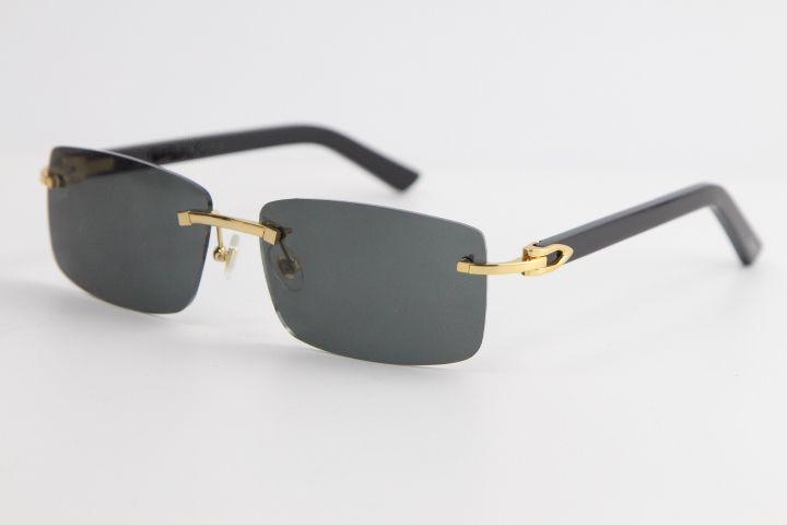 2020 새로운 림없는 검은 판자 선글라스 8200757 패션 고품질 태양 안경 투명 프레임 투명한 큰 사각형 선글라스