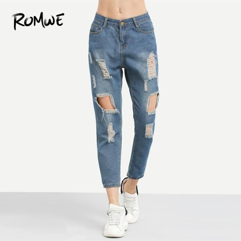 Romwe Blue Ripped Distressed Boyfriend Ankle Denim Jeans Mujeres Casual Summer Autumn Plain Straight Pants Spring Pantalones Y19051801