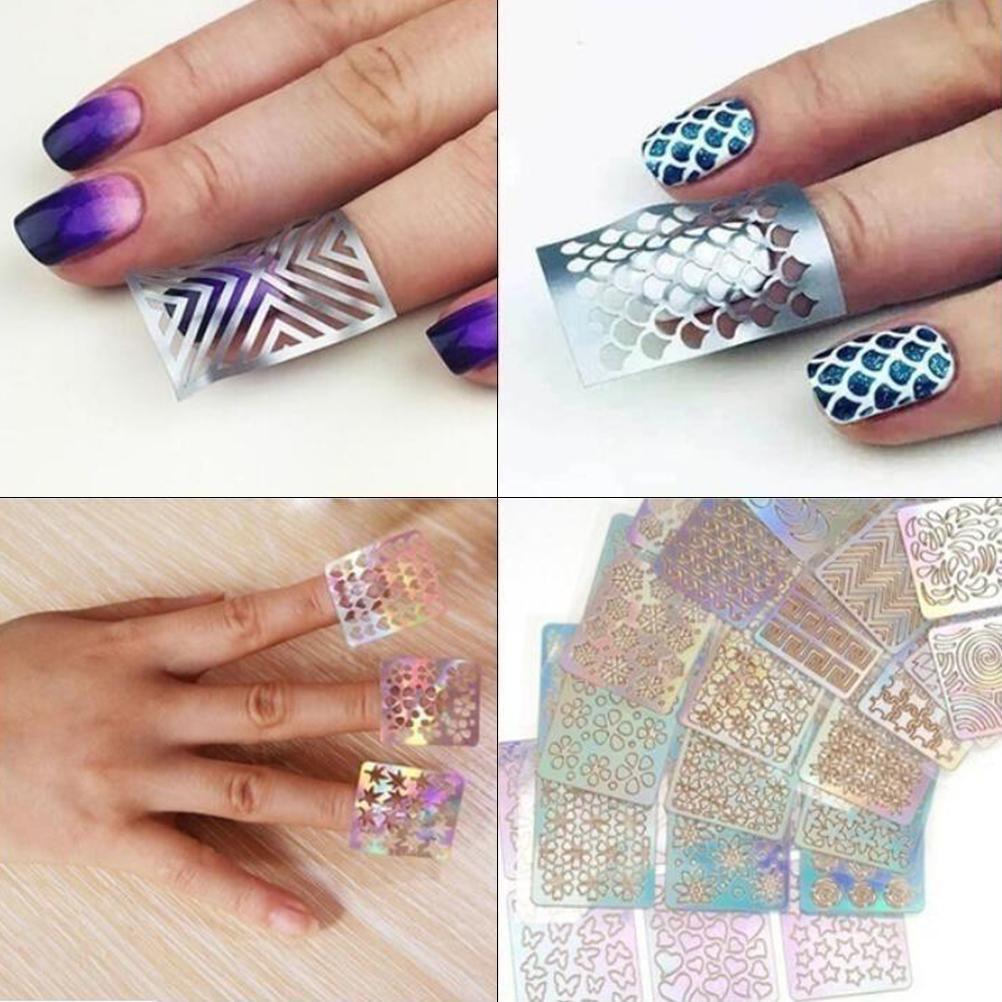12PCS creux Nail Sticker mode auto-adhésif autocollant manucure Nail Art Accessoires de manucure autocollant