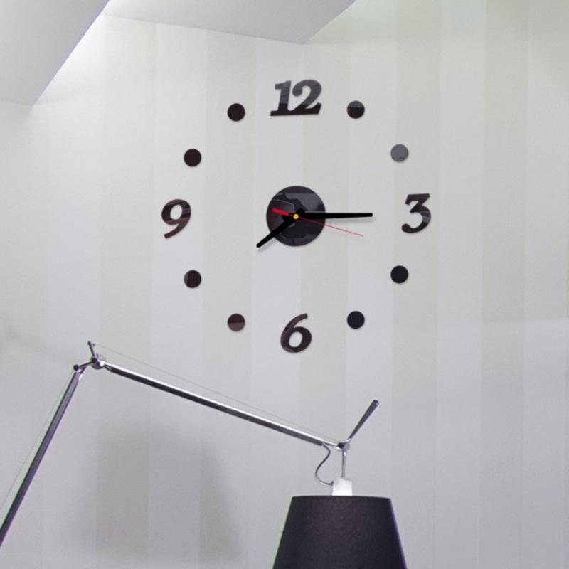 Números DIY Relógio de parede Modern FramelessArabic Adhesive 3D superfície do espelho Home Office etiquetas da escola em silêncio por decorativa