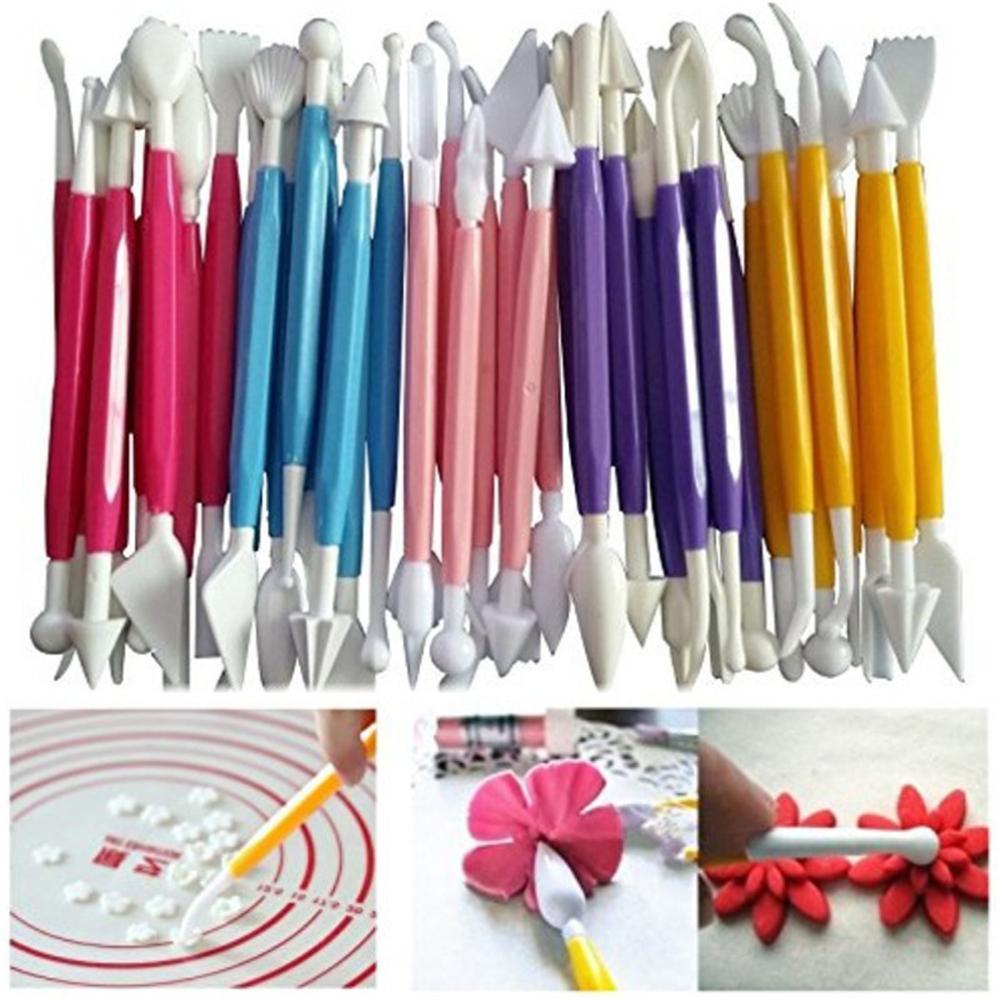 펜 더블 향하고 설탕 공예 퐁당 케이크 과자 조각 Knift 초콜릿 장식 꽃 클레이 모델링 키트 조각 8PCS / 세트