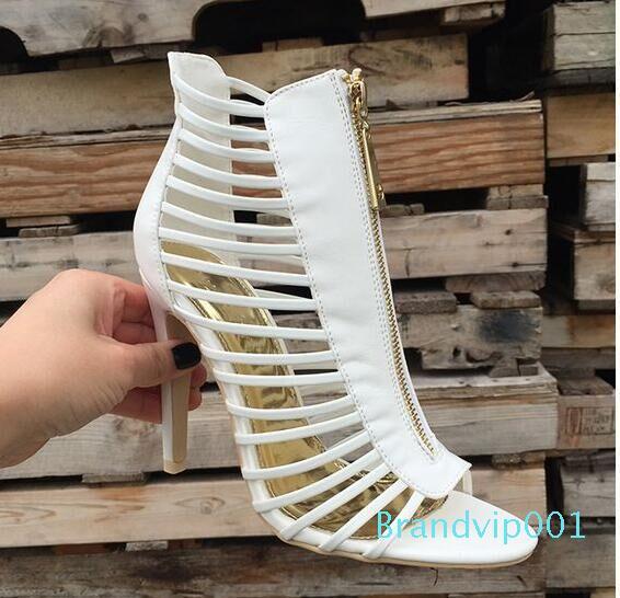 cortes Botas de mujer atractiva del verano sandalias botines fuera de tobillo botas mujer botas de cuero blanco enjaulados Sandalia Feminina