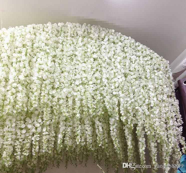 nuove idee glicine cerimonia nuziale eleganti 3forks artificiale fiore di seta glicine cerimonia nuziale della vite Decorazioni per pezzo più quantità più bella