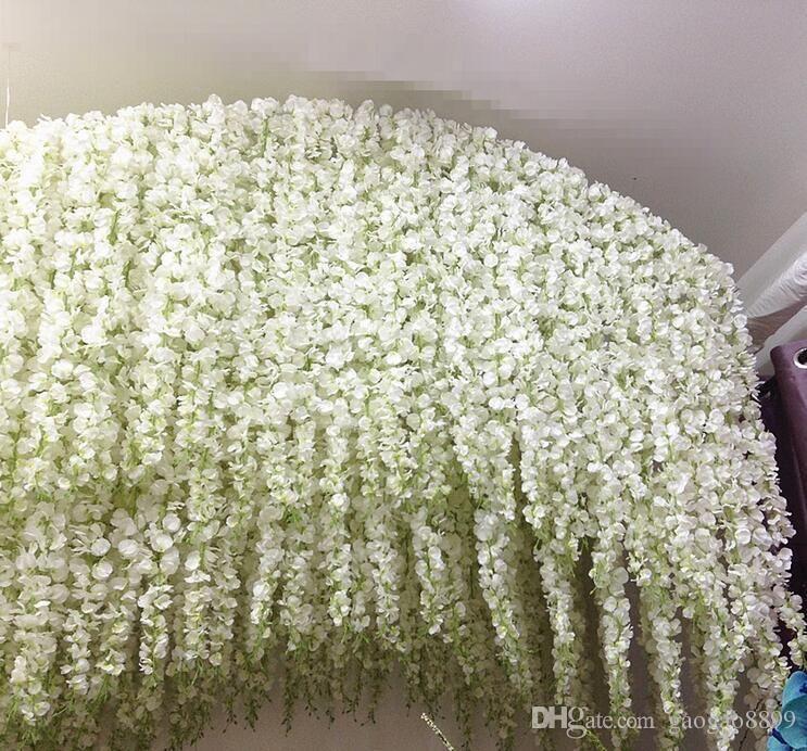 Novas idéias do casamento das glicínias 3forks elegantes Artificial Silk Flower Wisteria Vine decorações de casamento por peça mais quantidade mais bonito