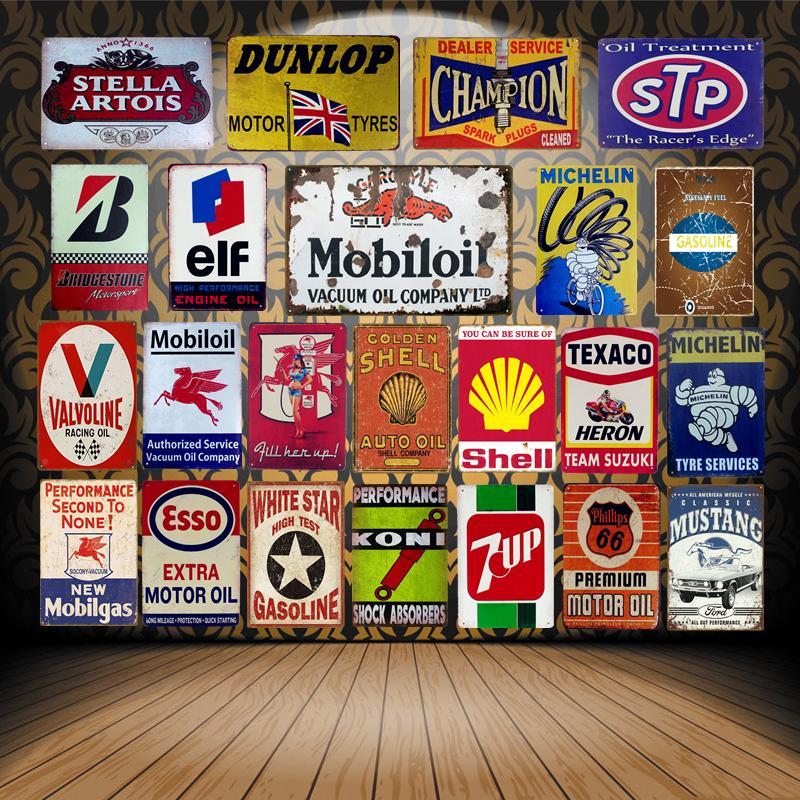 2019 yeni Vintage Mobil Motor Yağı Tabelalar Metal Poster ELF STP Valvoline Oto Motosiklet Benzinli Garaj Mağazası Ev D ...