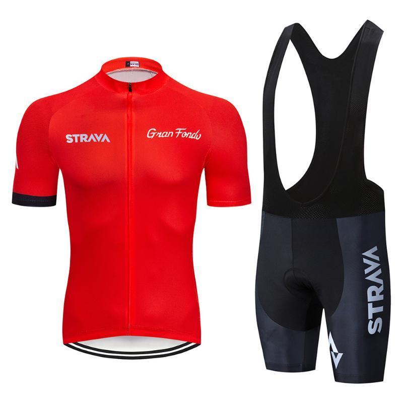 2020 новый красный Страва Pro Team Велосипед с коротким рукавом Мужская Велоспорт Джерси лето дышащая Велоспорт Одежда Наборы