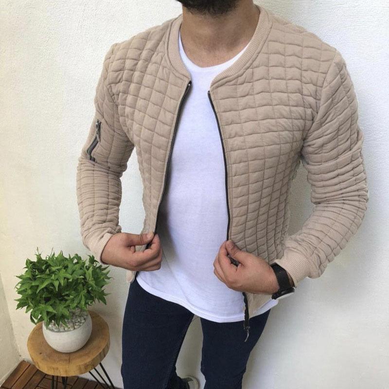Zhijing Katı Renk Pamuk Erkekler Ceket Moda Yeni Popüler İnce Günlük Spor Erkek Ceket