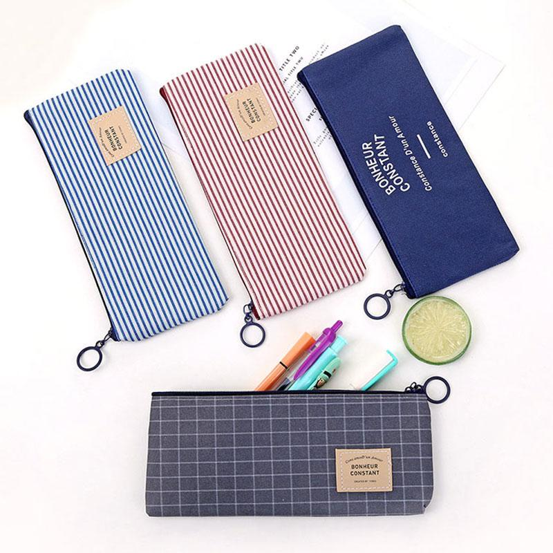 New Canvas Zipper Pencil Case Simple Striped Grid Pen Bag School Pencil Makeup Pouch Cosmetics Storage Bags Office Stationery