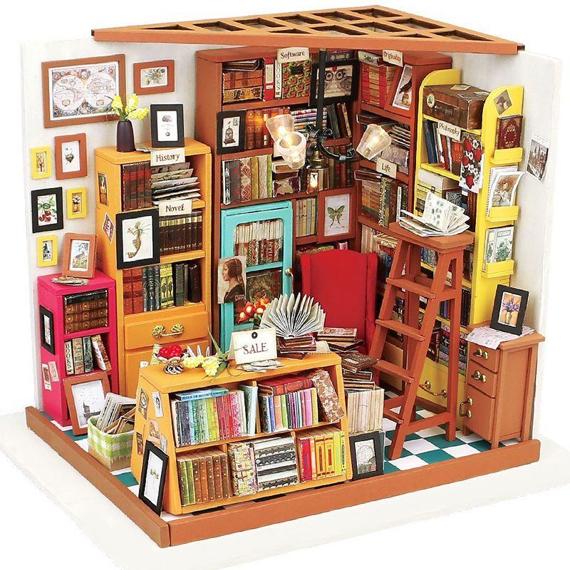 Bebek Oyuncak Bebek Evi Mobilyaları Ile Minyatür DIY Dollhouse Kitap Mağazası Ahşap Ev Oyuncaklar Çocuk Hediyeler Için Eğitim Robotime