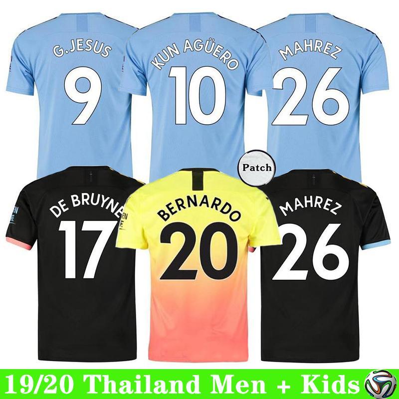 19 20 Manchester Soccer Jersey ville AGUERO STERLING DE KUN BRUYNE SILVA hommes chemise de football maillot + kids kit ensembles uniformes