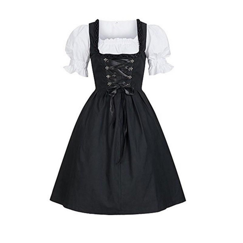 Halloween Costumes Beer Girl Costume Maid Wench Germany Bavarian Black Oktoberfest Fancy Dress Dirndl For Adult Plus size
