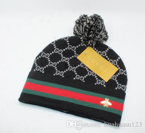 Sombreros BEANIES casquillo unisex de la marca cientos nuevo sombrero de invierno de alta calidad poms del pom sombreros de punto hechos de 2115