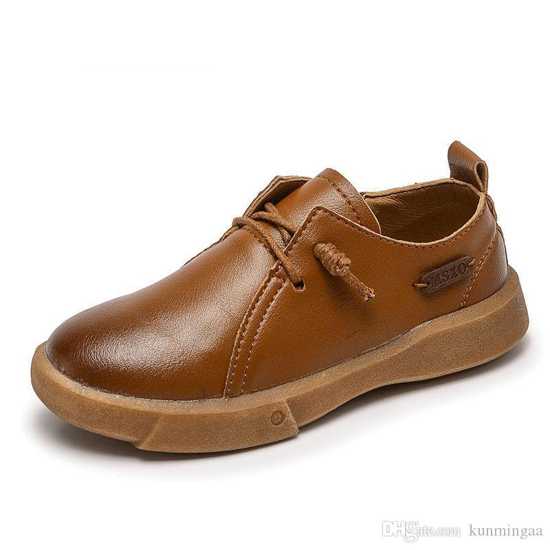 أحذية جلدية الأولاد الأطفال خمر جلدية حقيقية الزفاف أكسفورد أحذية مصمم مدرسة الأسود اللباس أحذية عادية للأطفال