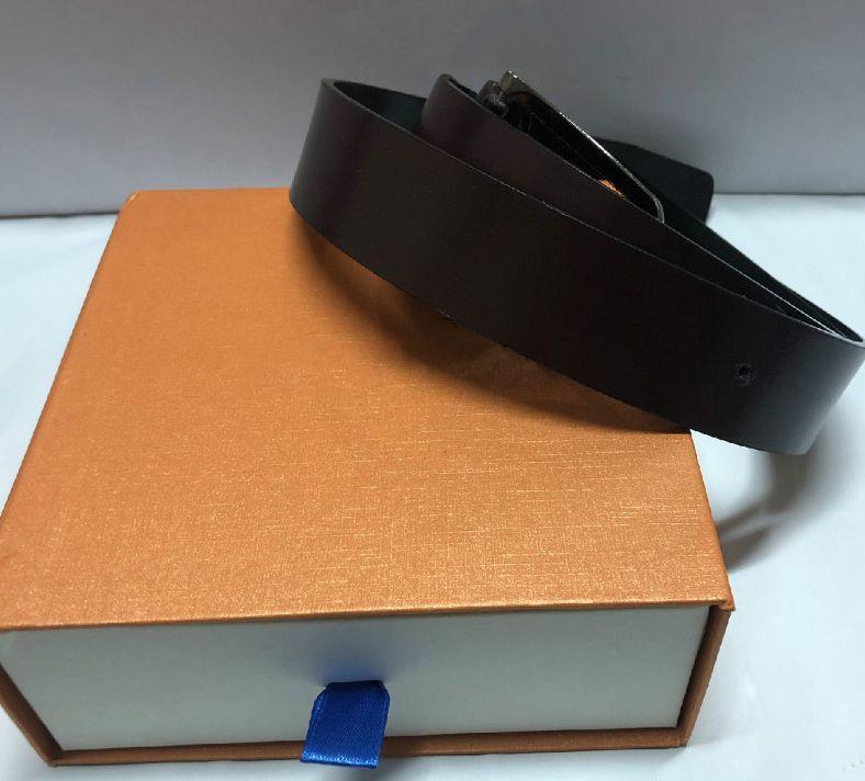 Gürtel für Herren-Gürtel Mode-Gürtel Plaid Business Leather Gürtel Blume Big Gold Silber Schnalle mit Box