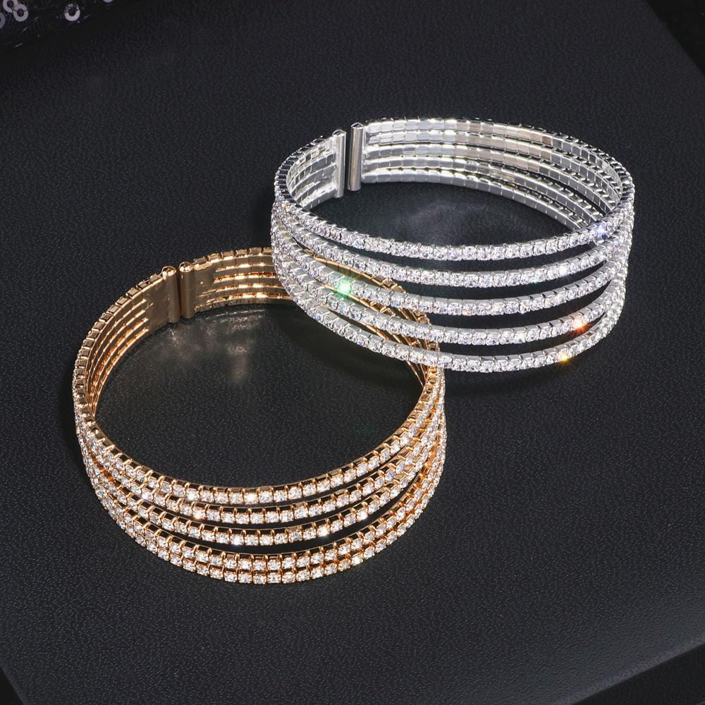 5 Rows Elegant Clear Rhinestone Bangle Bracelet Gold Color Crystal Bangles Wedding Bridal Jewelry Accessories For Women WX209