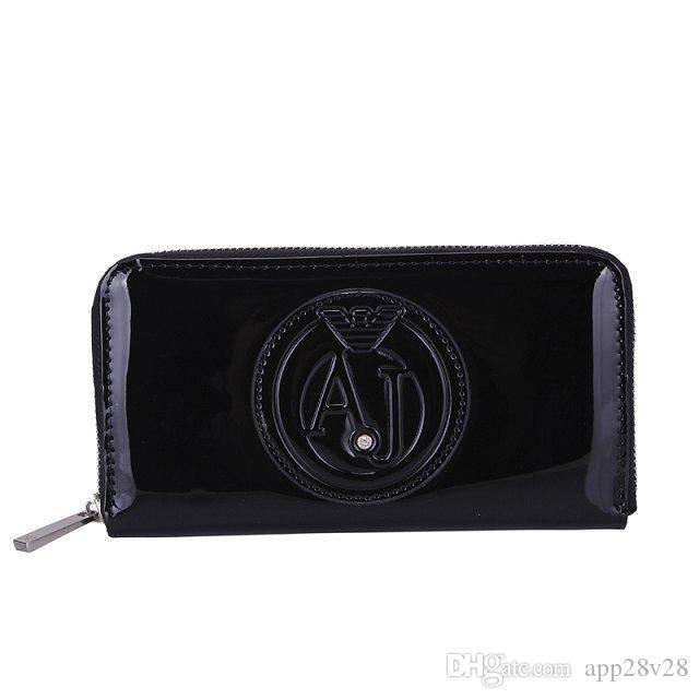 Código de data da bolsa de moedas de couro multicolor de luxo de alta qualidade titular do cartão de carteira longa bolso clássico zip