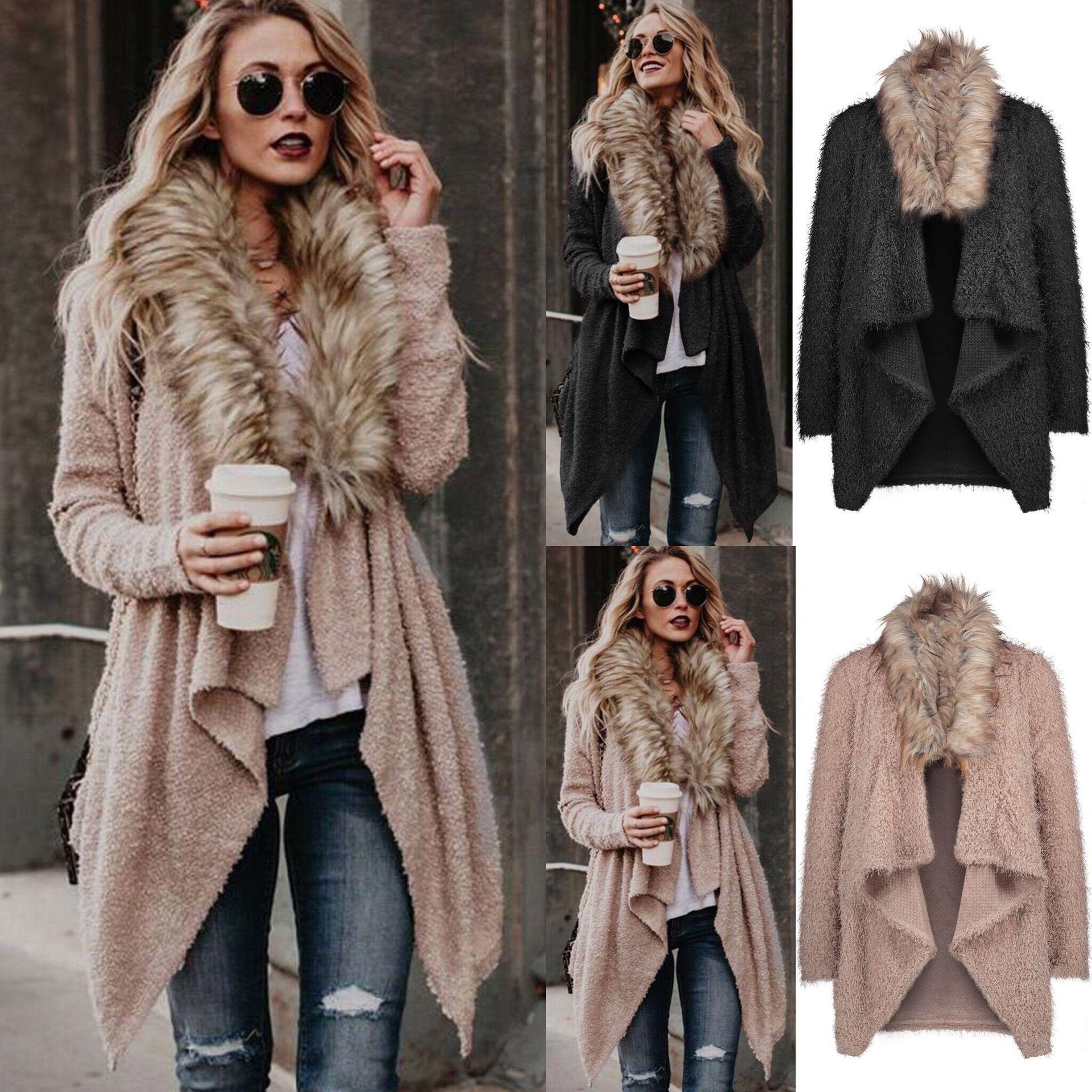 Fashion-Wholesale New Style Women Cardigan With Fur Collar Plush Windbreaker Women Sweaters Street Style Lapel Personality Designer Sweater