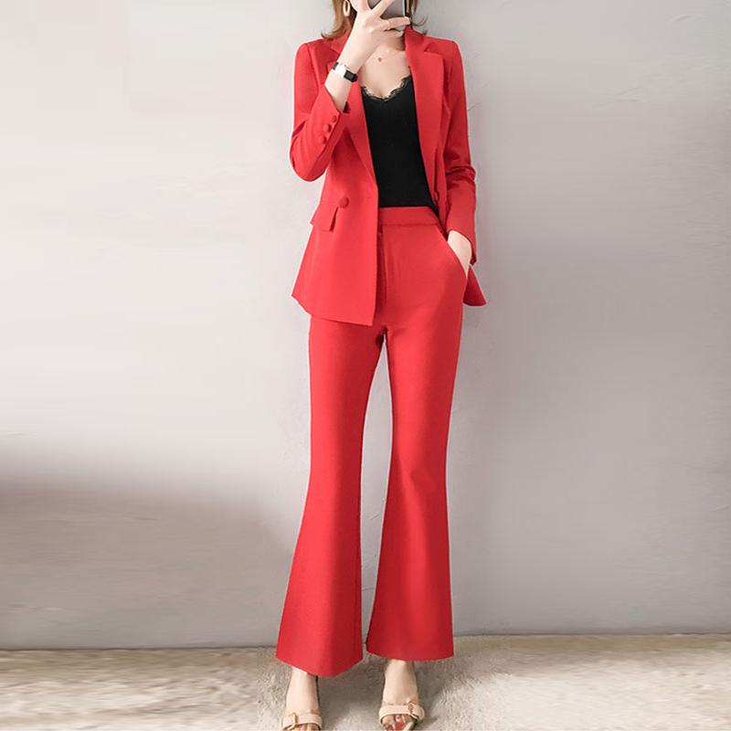 Atacado 2019 Moda Feminina Roupas Twinsets Senhora Escritório Vermelho Turn-down Blazer Tops + Calças De Flare Conjunto de Duas Peças OL Ternos