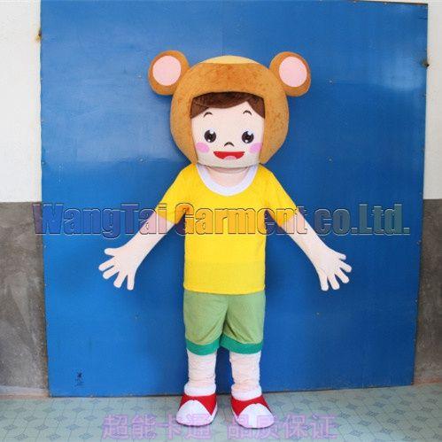 Hohe Qualität Junge Im Bären-Hut-Maskottchen-Kostüme Karneval Zweig Parade Qualität Clowns Halloween-Party-Aktivität Fancy-Ausstattung Verschiffen frei