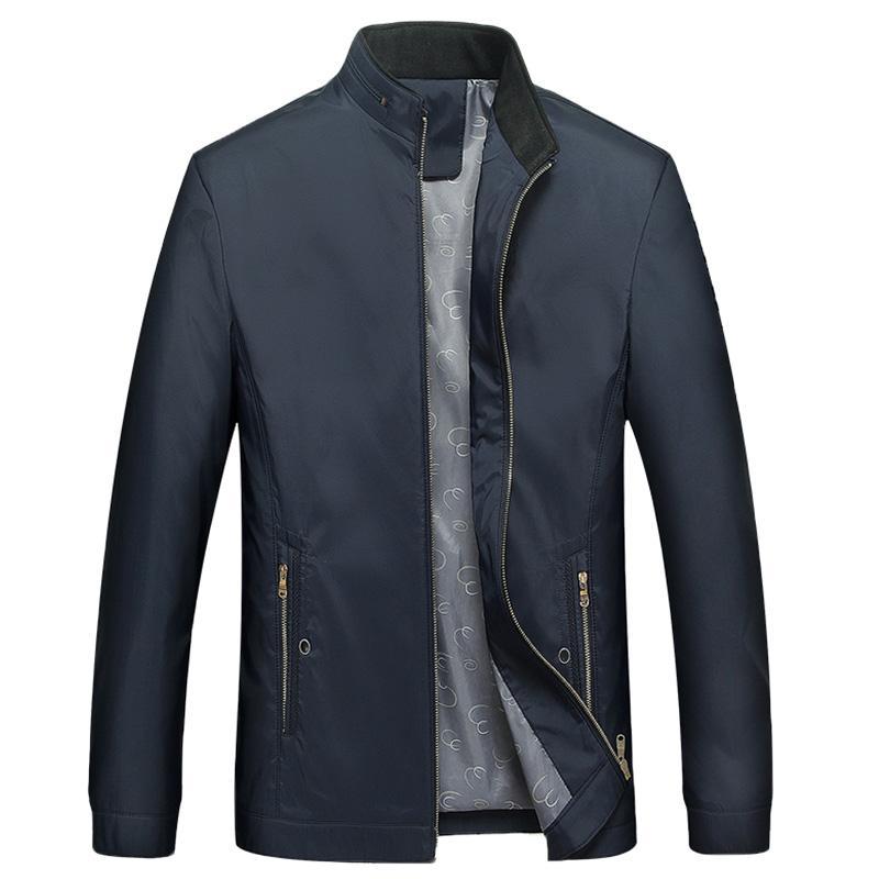 Nova 2019 primavera outono bordado cor sólida homens jaqueta gola fino casaco fino outerwear plus size