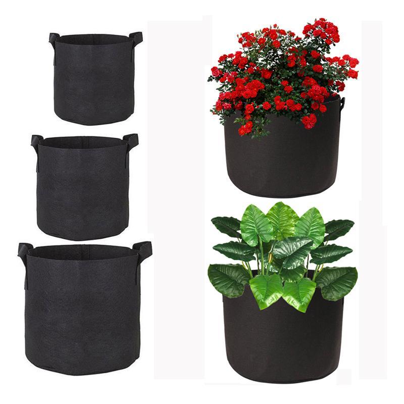 أكياس الأنسجة السوداء النسيج مصنع تنمو أكياس مع مقابض زراعة حقيبة الشتلات الزهور 1، 2، 3، 5، 7، 10، 15، 20، 25، 30 جالون