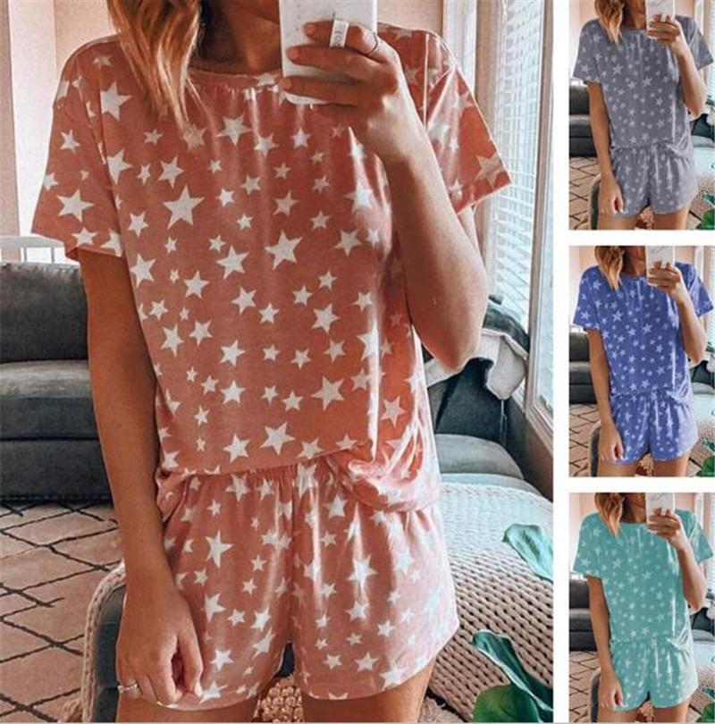 Été femmes pyjamas à manches courtes Casual Deux Piece Shorts Vêtements de nuit star imprimé costumes en vrac Accueil