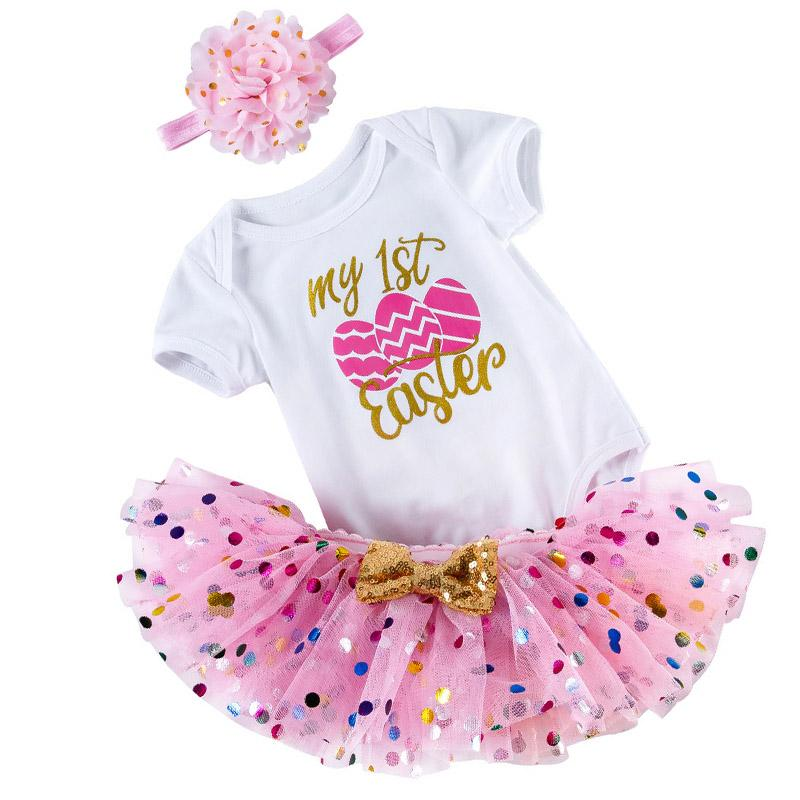 My First Birthday Baby Girl Clothes Set Tutu Lovely Easter Infant Girl Outfits Skirt+Tops+Headband infant Girls Outfits Clothes