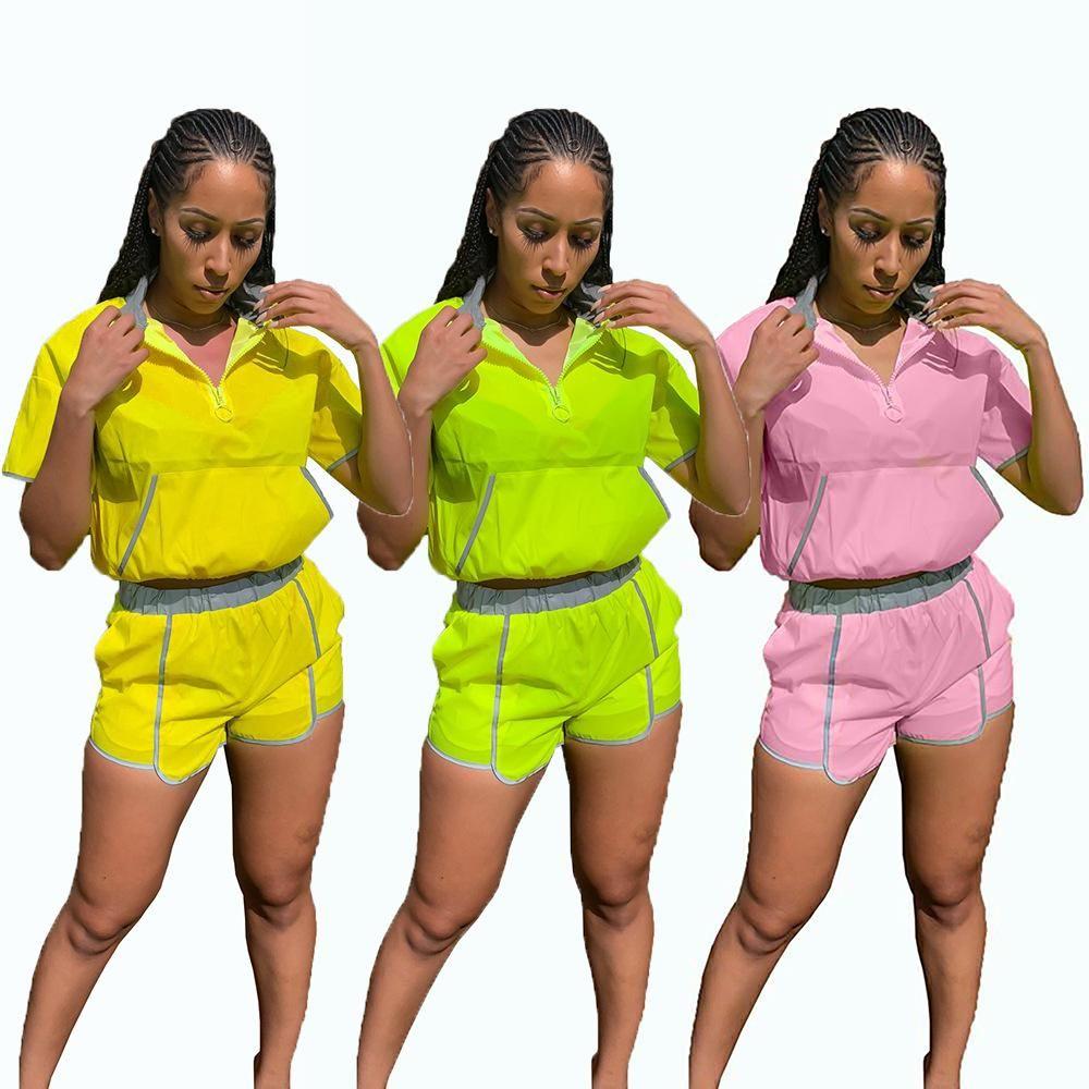Más el tamaño 2 conjunto de dos piezas del chándal de las mujeres Sportwear Casual remiendo de manga corta Tops Shorts Traje Trajes Playsuit