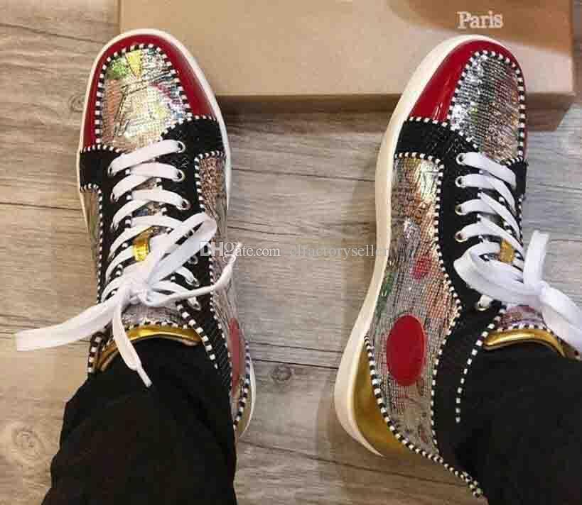 2019 süper Kalite Dikenler Yüksek Üst Kırmızı Alt Pik Pik Çivili Sneakers Ayakkabı Kadınlar Erkekler Lüks Tasarımcı Düz Casual Kırmızı Sole Parti Ayakkabı