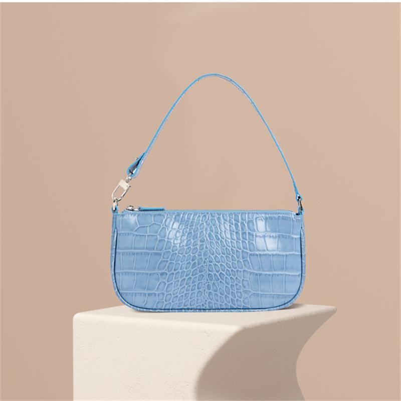 빈티지 악어 바게트 모양의 가방 가죽 핸드백 2020 새로운 패션 어깨 가방 여자 메신저 크로스 바디 백