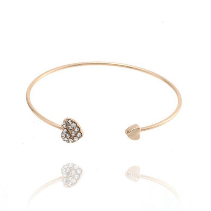 El cristal lleno de corazón de los brazaletes del Rhinestone doble del amor del corazón abierto brazalete de oro rosa de plata ajustable joyería pulseras regalo de las mujeres de la boda