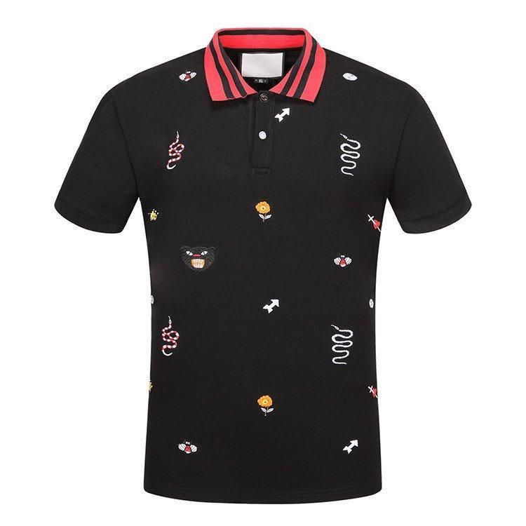 GUCCI 19ss marcas de algodão Sólido polo com bordados de abelha Kingsnake UFO homens polo camisa de gola polos dos homens t camisas shorts de roupas Poloshirt