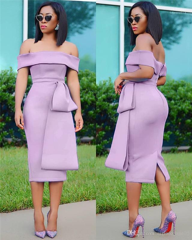 Mi-mollet Habillement Mode féminine été Jupettes Slash Neck Midi Robes dos nu manches Crayon Femme Vêtements