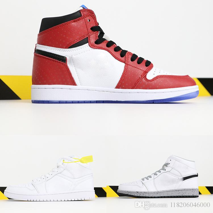 HOT designer Chicago Crystal 1 White Red Sneakers Shoes for Mens 1S OG MID casual shoes high quality women Trainers shoes black size 36-47