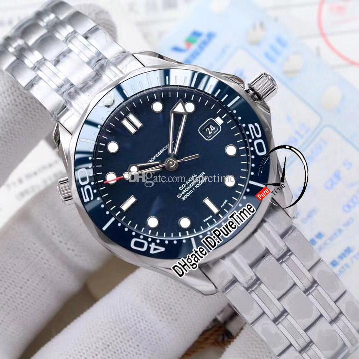 Novo mergulhador 300m Miyota 8215 Mens automático relógio azul cerâmica bezel fracilo azul pulseira de aço inoxidável 212.30.41.20.03.001 puretime e264b2