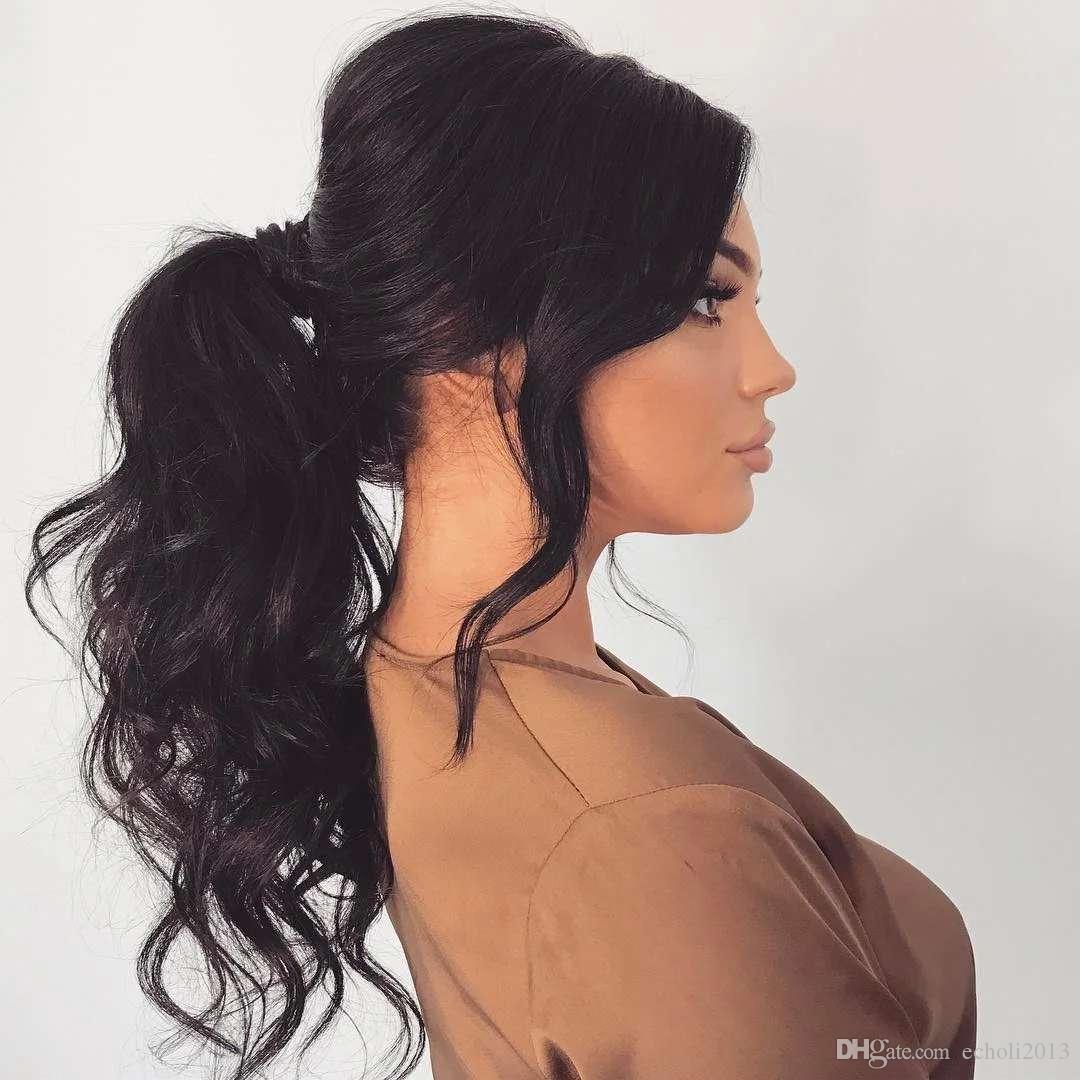 Longue queue de cheval haute ondulé postiche chaîne de tirage pince à cheveux humain chez les femmes extension de cheveux sans colorant couleur naturelle