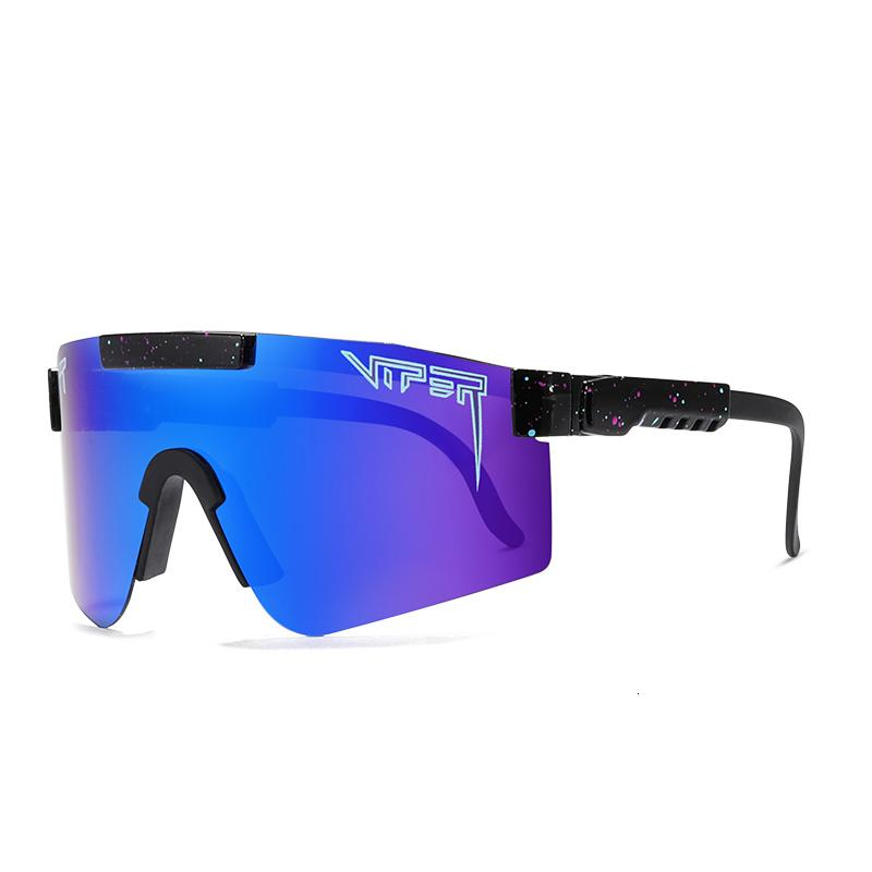 Pit Viper marco superior plana gafas TR90 reflejados azules de las lentes a prueba de viento deporte gafas de sol polarizadas para los hombres / mujeres PV01-c5