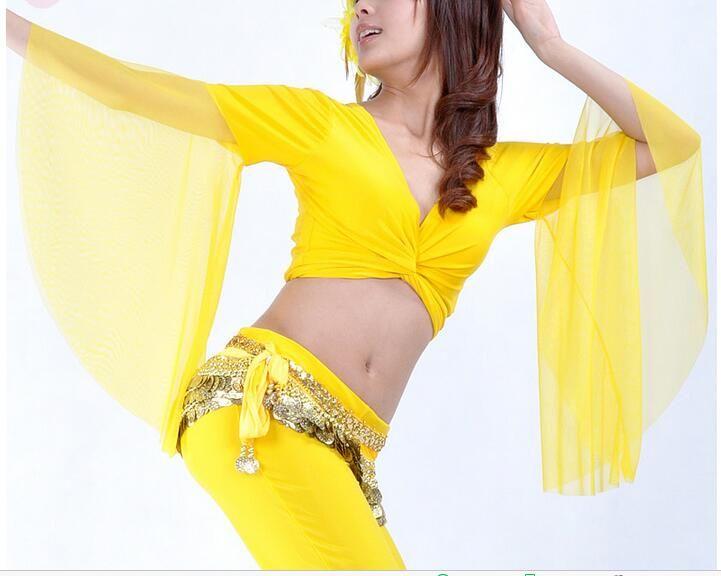 무대 착용 유행의 불규칙한 섹시한 밸리 댄스 쉬폰 탑 여성용 집시 의상 성능