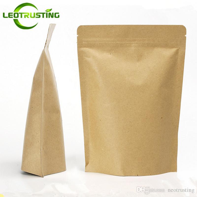 Leotrusting 50pcs / lot Resealable 스탠드 최대 크래프트 종이 지 플락 포장 가방 종이 우편 주머니 커피 가루 선물 종이 스토리지 가방