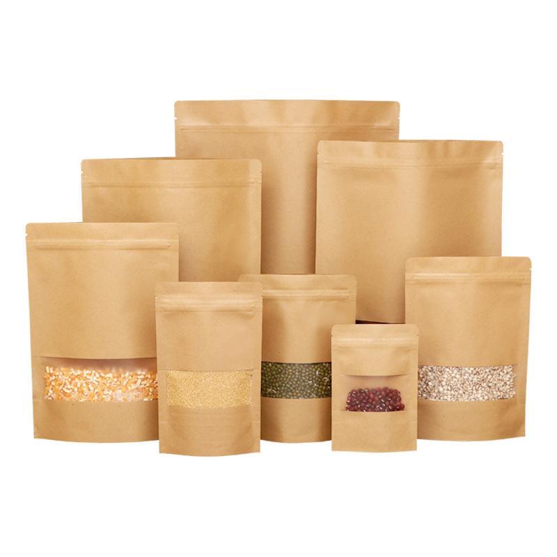 100pcs papel Kraft se levanta bolsa de la cremallera bolsa resellable con ventana Zip Heat Seal cierre de bloqueo para el embalaje de alimentos CALIENTE